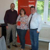 Ortsvereinsvorsitzender Jochen Kraft, Verena Saftenberger, Vorsitzender SPD-Kreisverband Schweinfurt-Land Kai Niklaus